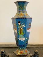 Régi kínai rekeszzománc váza (Cloissoné) tűzzománc
