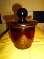 Antik vastag üveg patikaedény -barnás színű