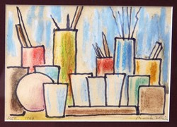 Barta István (1892-1976): A festő szerszámai, Köln, 1969 - egyedi festmény keretben