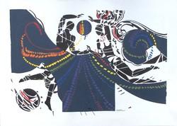 Sütő Éva: Ünnep (vegyes technika-karton) 38x61 cm