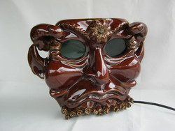 Kerámia maszk faun ördög fej fali lámpa
