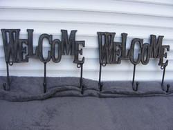 Öntöttvas akasztó WELCOME (üdvözlet) felirattal párban