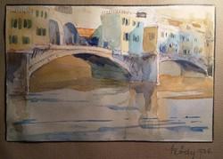 Sződy Szilárd aqvarell Ponte Vecchio híd