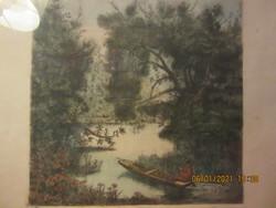 Remsey Jenő : Szentedrei Dunaág, színezett rézkarc  31x31 cm