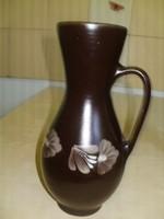 Kerámia virágos barna füles bokály váza 27x15 cm. hibátlan