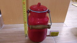 Lampart piros tejeskanna 1L liter régi retro vintage ritka