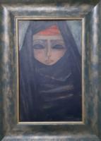 CSADOROS NŐ PORTRÉJA - olajfestmény szép keretben 39x53 cm (lány arckép, hölgy, iszlám, muszlim)