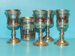 1865 évben készült 5 db antik orosz ezüst pohár, igen jó állapotban