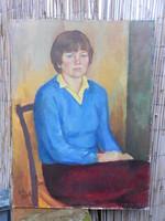 Pénzes Géza(1949-) Judit... Olaj-vászon-farost alkotása. Keret nélkül.