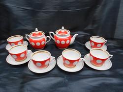 Orosz ( szovjet ) pöttyös retro kávés vagy teás készlet. Aranyozott belső szegéllyel. 6 személyes.