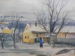Szalóky Sándor (1921-1978) Falusi utca, Munkácsy-díjas művész alkotása, kerettel. Hibátlan.
