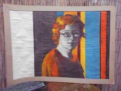 """Nagyméretű, modern, akvarell festmény. """" A lány"""" Keret nélkül, fotók szerinti állapotban."""