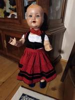 Akár 1 forintért! Antik sonneberg porzellanfabric baba régi baba székely viseletben