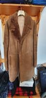 Mongol férfi irha kabát bőr kabát irhakabát bőrkabát XL-es újszerű