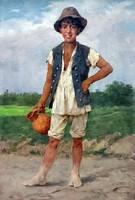 VASTAGH GYÖRGY ( 1834-1922 ) KISLEGÉNY KORSÓVAL ... OLAJ VÁSZON FESTMÉNY XIX. SZ VÉGE !!!
