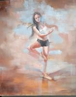 Olajfestmény faroslemezre. Női alak, ballerina. modern impresszionista stílus