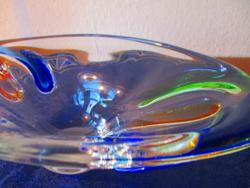Szines cseh formatervezett kristály tál, kináló-asztalközép