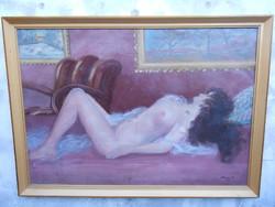 Kopár Sándor: Női akt (1959 ) olaj-vászon, jelzett. Nagyméretű festmény, kerettel együtt.