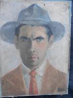 Art deco férfi porté, Palkonyi szignóval. Fotók szerinti állapotban, keret nélkül.