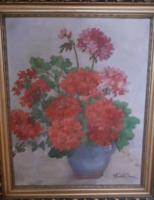 PIROS MUSKÁTLIK (olaj-vászon csendélet, szép keretben 47x57, Vladár Ilona) virágok, természet, vörös