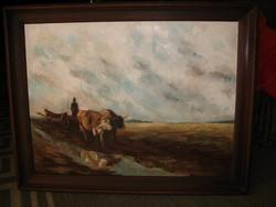Kvalitásos nagyméretű ökrös szekér olaj festmény egy ismeretlen festőtől