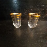 Régi aranyazott szélű likőrös pohár
