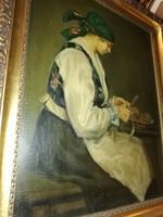 Krusnyák Károly : Hámozó nő