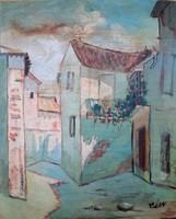 Vén Emil szignóval mediterrán utca olaj festmény