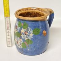 Kék mázas, virágmintás népi kerámia tejes csupor (1484)