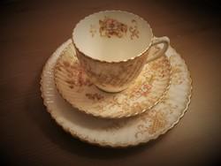 Régi, antik porcelán virágos kávéscsésze szett, kávéskészlet
