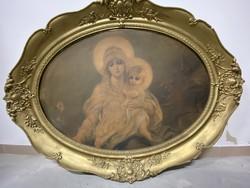 Antik nagyméretű ovális fali szentkép - Szűz Mária kezében kis Jézussal.