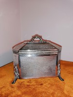 Ezüstözött alpakka cukortartó doboz