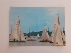 Retro képeslap Balaton vitorlás hajók