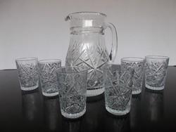Szép csiszolású 6 db kristály pohár  kancsóval, kiöntővel