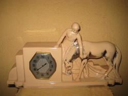 Szecessziós  porcelán kandalló óra , működő francia szerkezettel , 48 x 26 cm