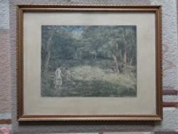 Breznay József : Erdőben   - rézkarc 1954-ből