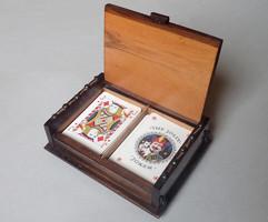 Régi kártyatartó fa doboz kártyadoboz kártya tartó fadoboz + ajándék kártya