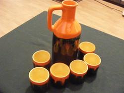 Retro kerámia korsó +6 pohár pálinkás v.boros