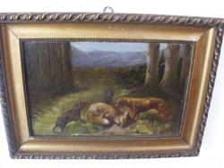BARTA GYULA: Vadászjelenet, vadászcsendélet kutyákkal zsákmányBarta Gy 1922-2008Pozsony