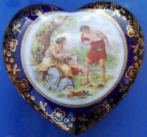 Altwien szív alakú bonbonier Angelika Kauffmann stílusú