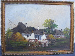 Németh György Lovasszekér olaj-vászon