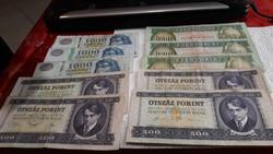 1000 és  500 ft  os bankjegyek 27000 egybe 3500 ft /db