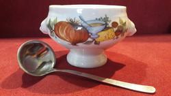 Porcelán leveses csésze, szószos kínáló kanállal