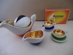 Különleges és ritka! Porcelán régi miniatűr baba játék kávéskészlet kislányoknak