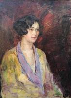 Fiatal hölgy gyöngysorral! Magyar festő, 1920 körül!