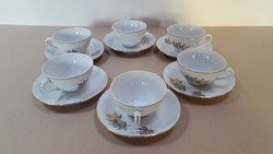 Thun Czechoslovakia porcelán levélmintás teás készlet
