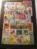 37 darab mesét , legendát ábrázoló bélyeg több országból .
