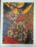 Victor Vasarely(1906-1997) 'Folklór' Nagy méretű szitanyomat, 55.5 x 74.5 cm,