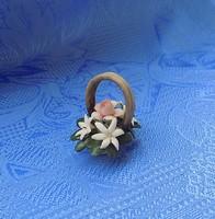 Mini virágkosár Capodimonte porcelán