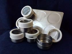 6 darabos mágneses érmetartó alkalmatosság tároláshoz és tisztításhoz fehér (id43631)